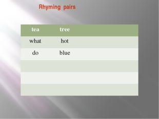 Rhyming pairs tea tree what hot do blue