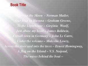 Book Title А fire on the Moon - Norman Mailer, Our Man in Havana – Graham Gre
