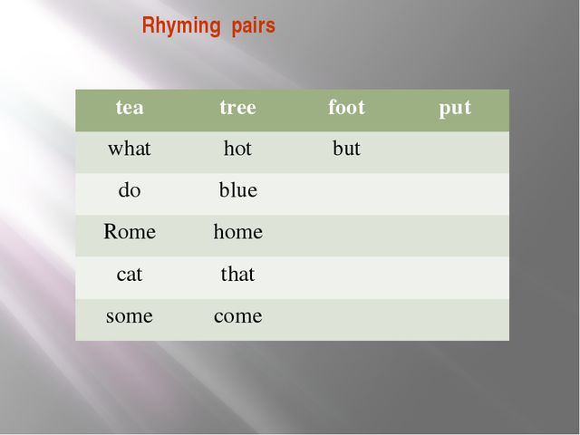 Rhyming pairs tea tree foot put what hot but do blue Rome home cat that some...