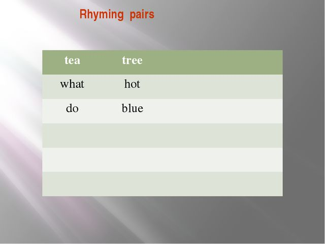 Rhyming pairs tea tree what hot do blue