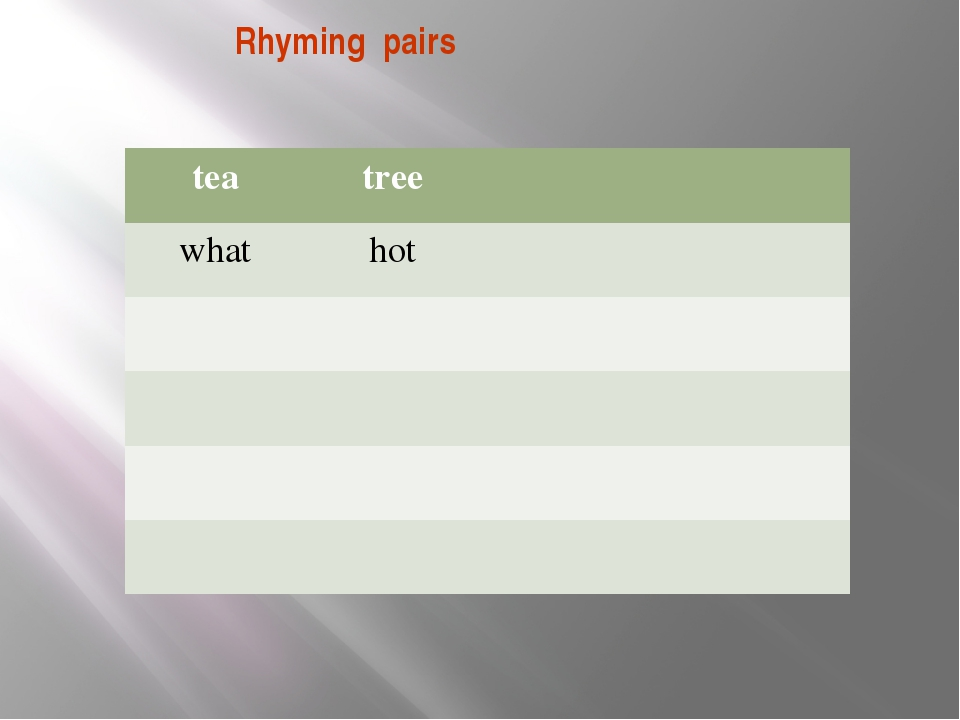 Rhyming pairs tea tree what hot