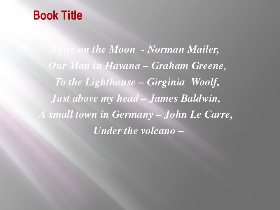 Book Title А fire on the Moon - Norman Mailer, Our Man in Havana – Graham Gre...