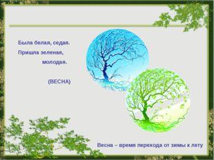 Была белая, седая. Пришла зеленая, молодая. (ВЕСНА) Весна – время перехода от