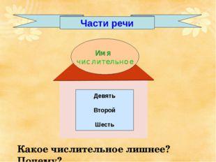 Части речи Девять Второй Шесть Какое числительное лишнее? Почему?