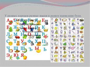 У разных народов разные языки и разное написание букв.