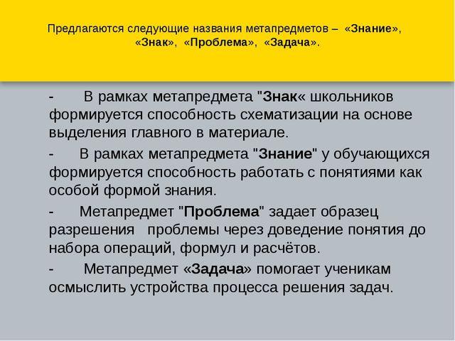Предлагаются следующие названия метапредметов – «Знание», «Знак», «Пробл...