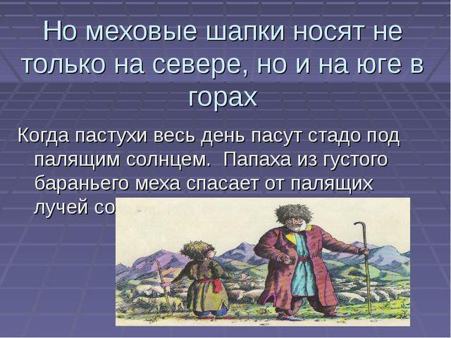 Но меховые шапки носят не только на севере, но и на юге в горах Когда пастухи...