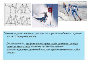 Главная задача лыжника - сохранить скорость и избежать падения из-за потери р