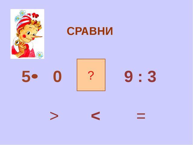 СРАВНИ ? 5 0 9 : 3 = > <