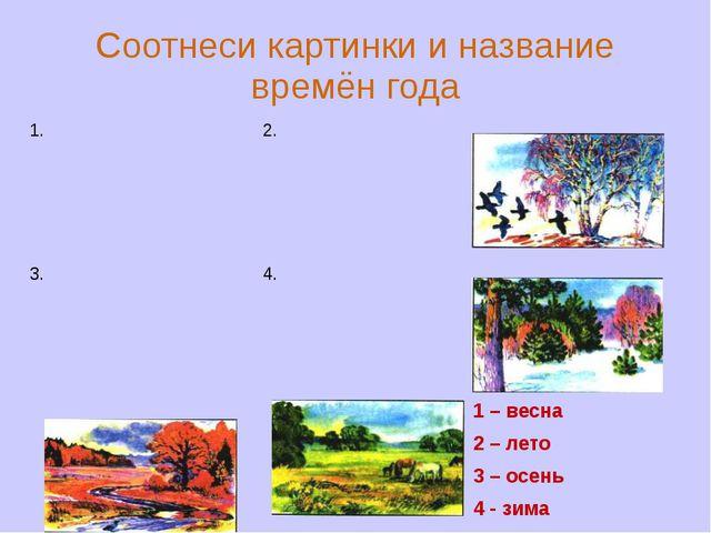 Соотнеси картинки и название времён года 1 – весна 2 – лето 3 – осень 4 - зим...