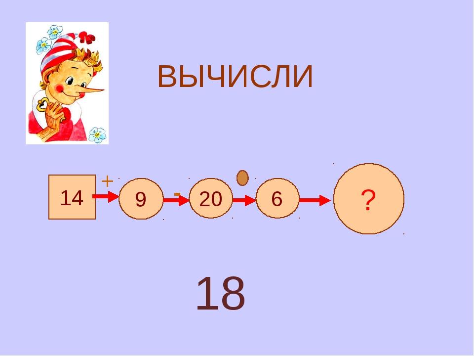 ВЫЧИСЛИ 14 9 20 6 ? + - 18