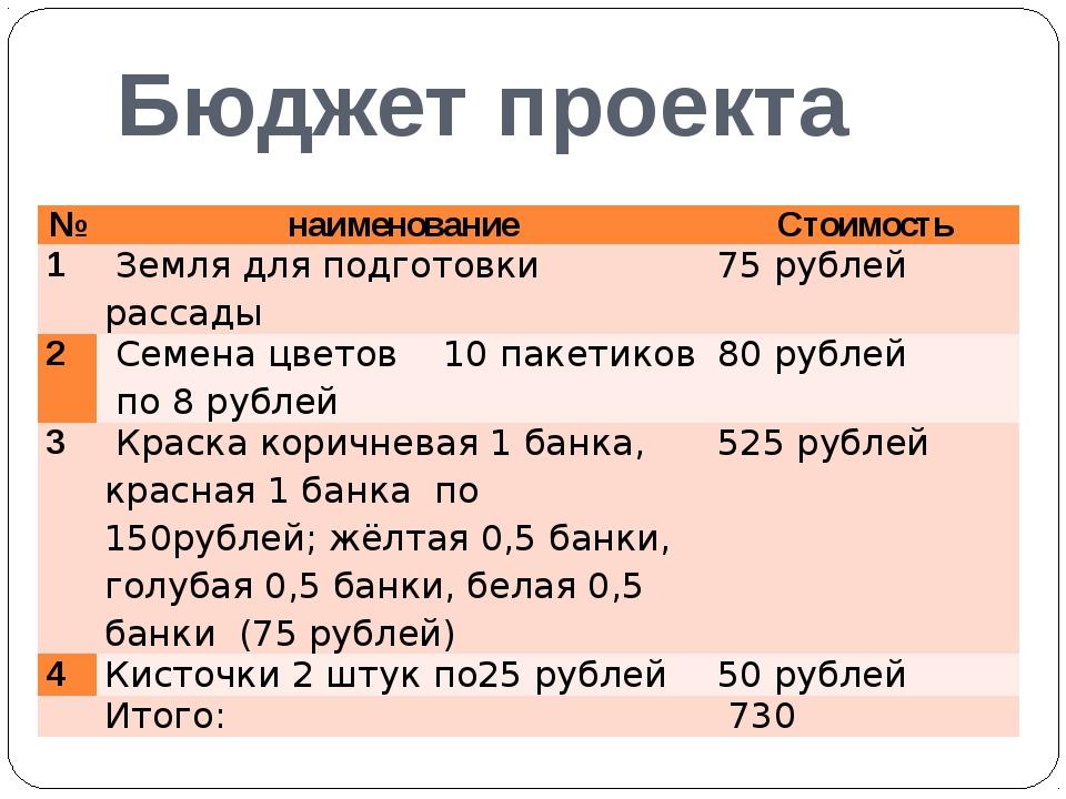 Бюджет проекта № наименование Стоимость 1 Земля для подготовки рассады 75 руб...