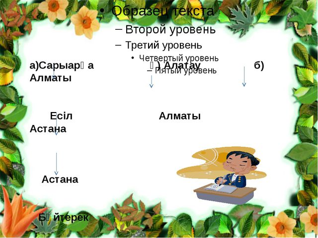 а)Сарыарқа ә) Алатау б) Алматы  Есіл Алматы Астана   Астана  Бәйтерек