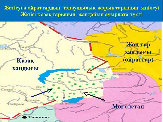 Жоңғар хандығы (ойраттар) Моғолстан Қазақ хандығы Жетісуға ойраттардың тонауш...