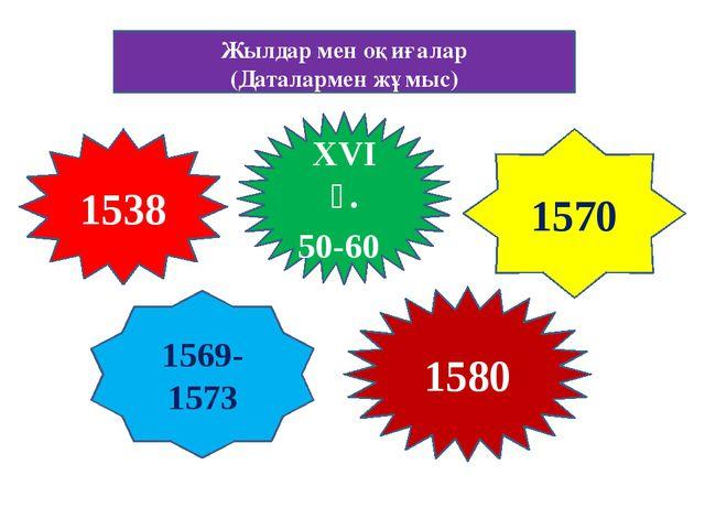 Жылдар мен оқиғалар (Даталармен жұмыс) 1538 XVI ғ. 50-60 1580 1569-1573 1570