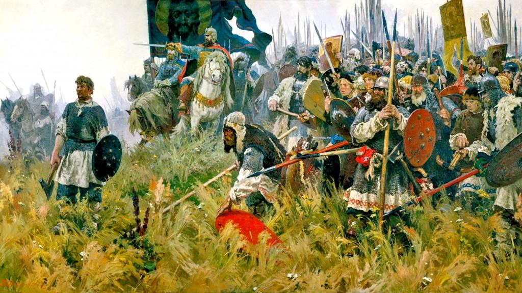 Куликовская битва в картинках, марта технике