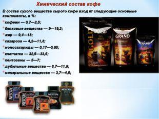 Химический состав кофе В состав сухого вещества сырого кофе входят следующие