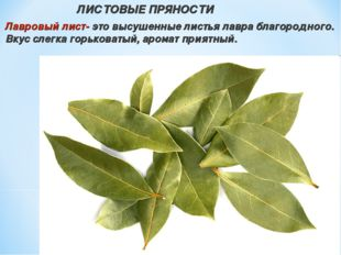 ЛИСТОВЫЕ ПРЯНОСТИ Лавровый лист- это высушенные листья лавра благородного. В