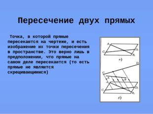 Пересечение двух прямых Точка, в которой прямые пересекаются на чертеже, и ес