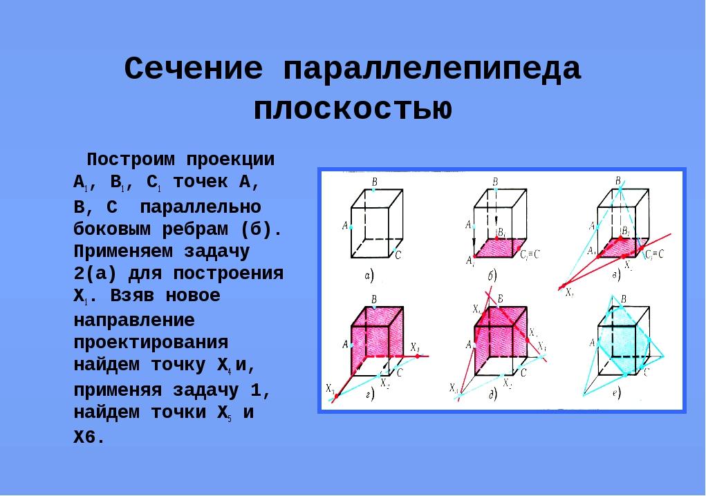Сечение параллелепипеда плоскостью Построим проекции А1, В1, С1 точек А, В, С...