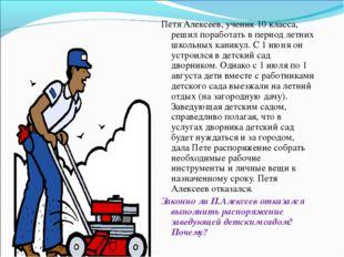 Петя Алексеев, ученик 10 класса, решил поработать в период летних школьных ка