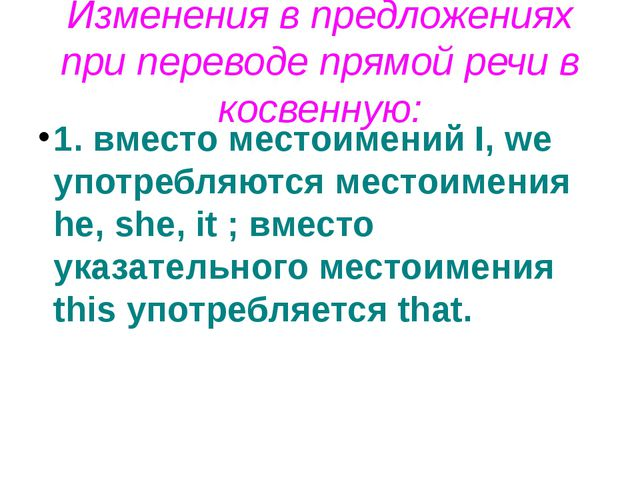 Изменения в предложениях при переводе прямой речи в косвенную: 1. вместо мест...