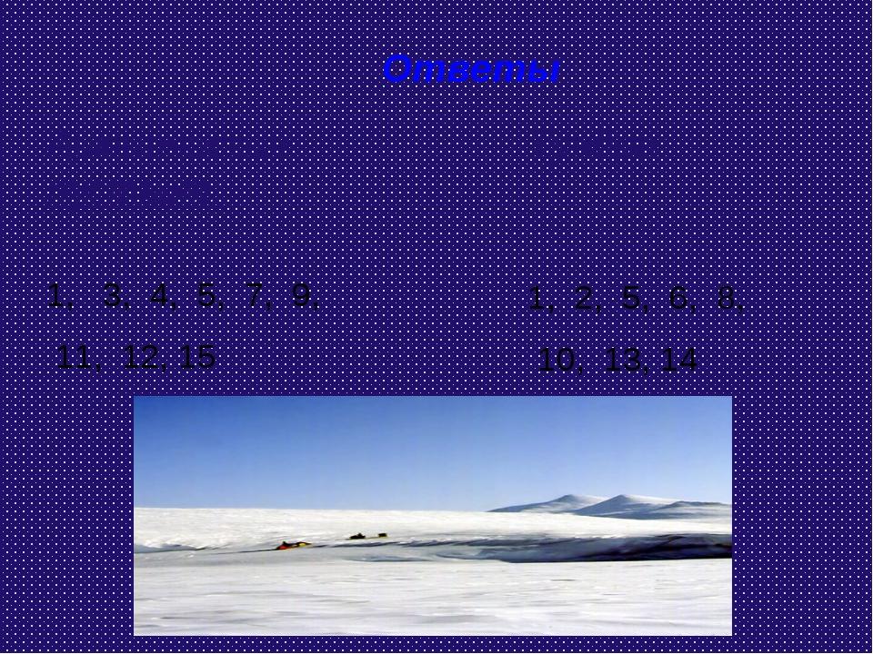 Ответы Арктическая пустыня: 1, 3, 4, 5, 7, 9, 11, 12, 15 Тундра: 1, 2, 5, 6,...