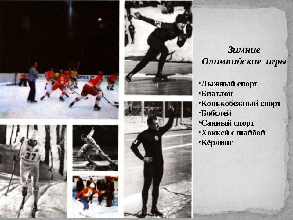 Зимние Олимпийские игры Лыжный спорт Биатлон Конькобежный спорт Бобслей Санны...