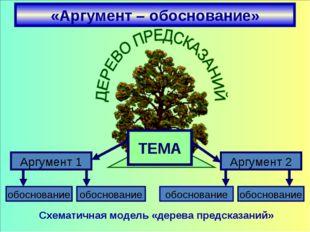 «Аргумент – обоснование» Схематичная модель «дерева предсказаний» Аргумент 1