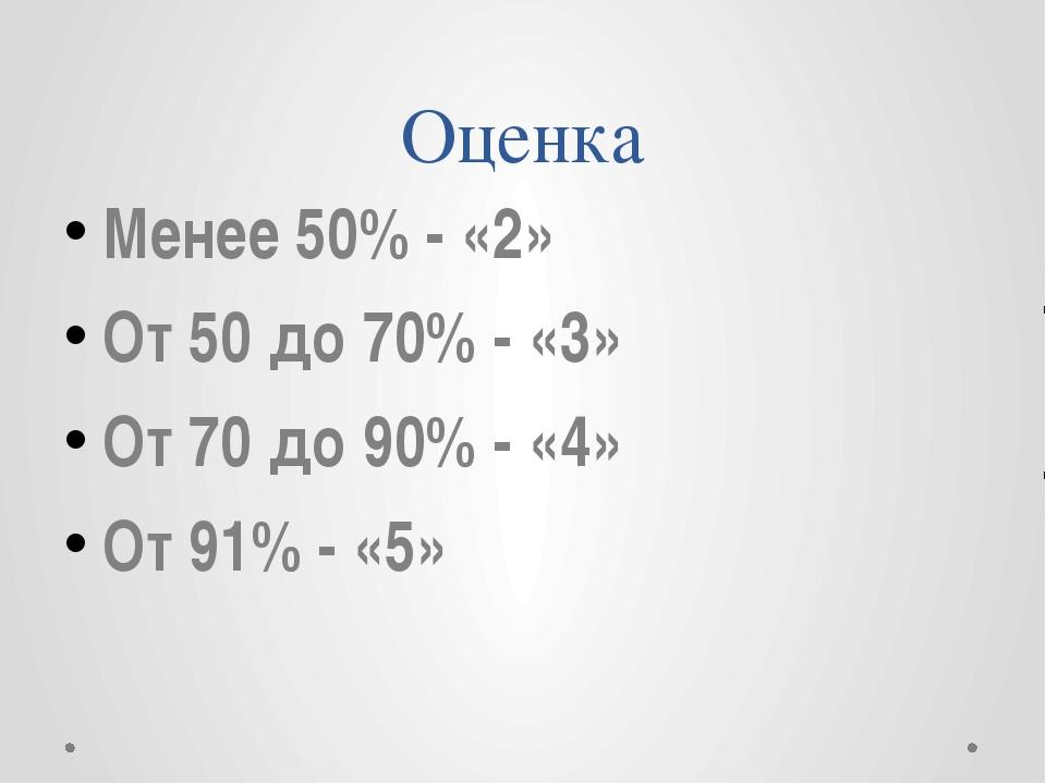 Оценка Менее 50% - «2» От 50 до 70% - «3» От 70 до 90% - «4» От 91% - «5»