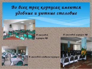 Во всех трех корпусах имеются удобные и уютные столовые В столовой корпуса №1