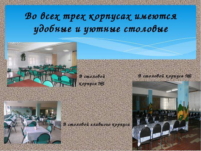 Во всех трех корпусах имеются удобные и уютные столовые В столовой корпуса №1...