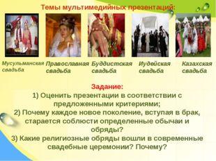 Темы мультимедийных презентаций: Православная свадьба Мусульманская свадьба Б