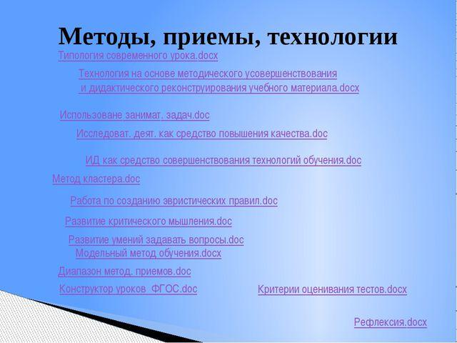 Методы, приемы, технологии Конструктор уроков ФГОС.doc Критерии оценивания те...