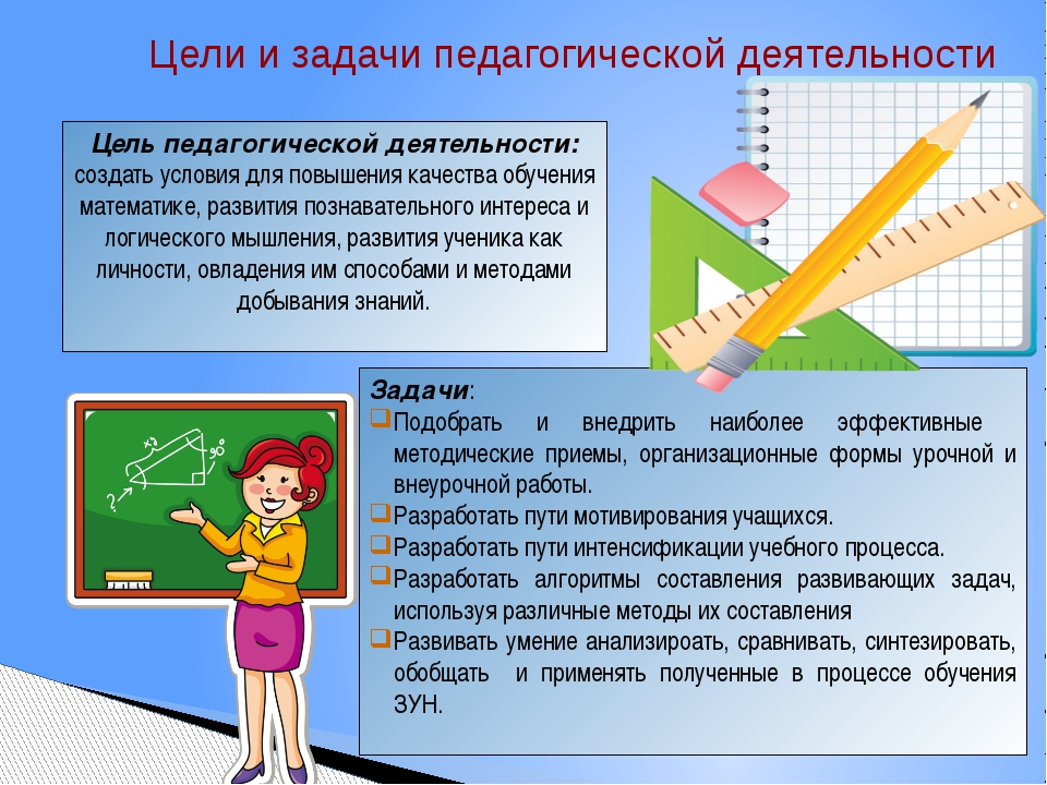 Цели и задачи педагогической деятельности Цель педагогической деятельности:...