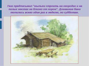 """Указ предписывал """"мыльни строить на огородах и на полых местах не близко от х"""