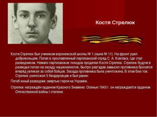 Костя Стрелюк был учеником воронежской школы № 1 (ныне № 11). На фронт ушел д