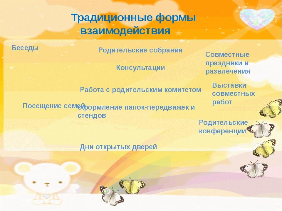 Традиционные формы взаимодействия Родительские собрания Совместные праздники...