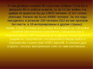 В том декабре погибло 86 советских бойцов. Если бы в феврале 80-го войска выв