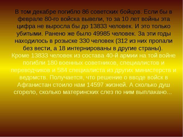 В том декабре погибло 86 советских бойцов. Если бы в феврале 80-го войска выв...