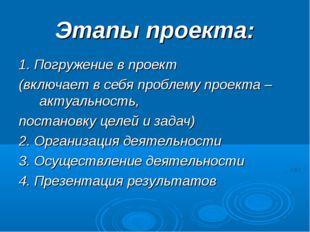 Этапы проекта: 1. Погружение в проект (включает в себя проблему проекта – акт