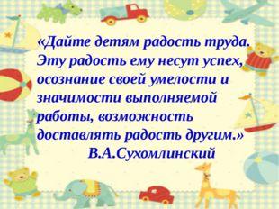 «Дайте детям радость труда. Эту радость ему несут успех, осознание своей умел