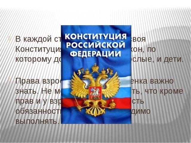 В каждой стране есть еще и своя Конституция это основной закон, по которому д...