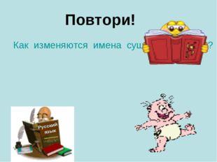 Повтори! Как изменяются имена существительные? Русский язык