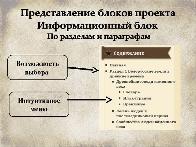 Возможность выбора Интуитивное меню
