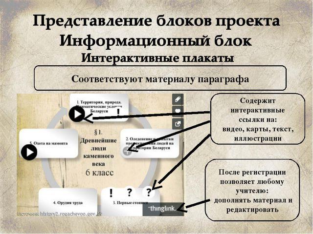 Соответствуют материалу параграфа Содержит интерактивные ссылки на: видео, ка...
