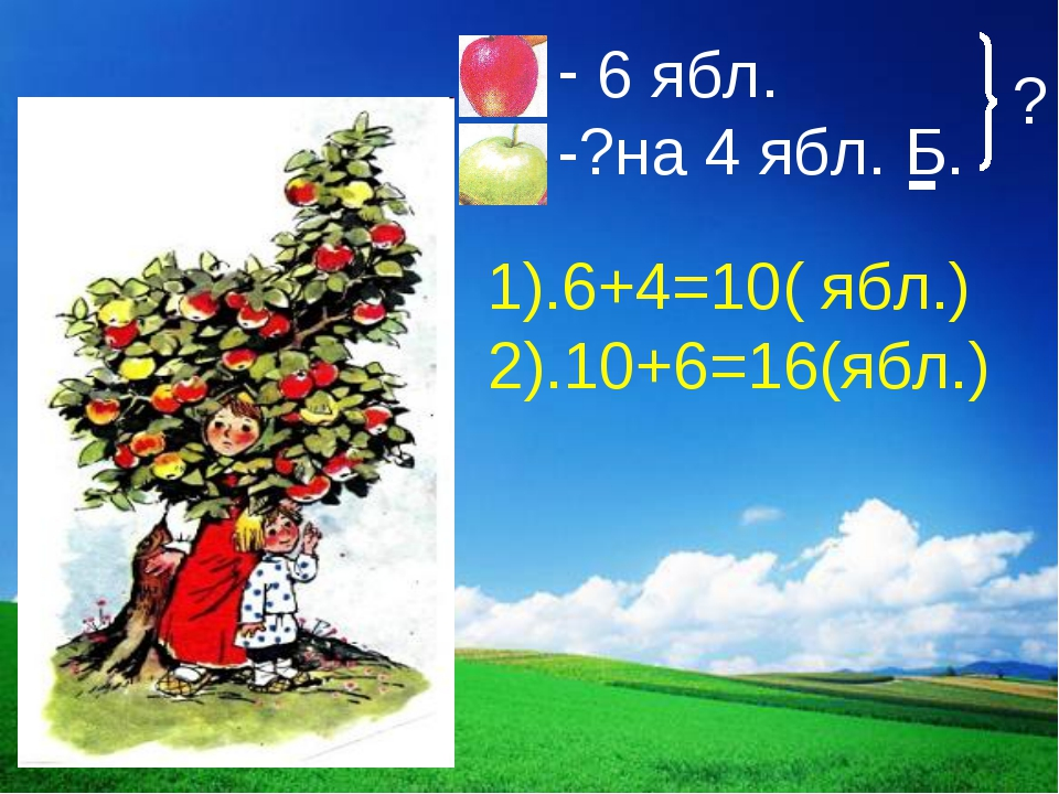 1).6+4=10( ябл.) ? 2).10+6=16(ябл.)