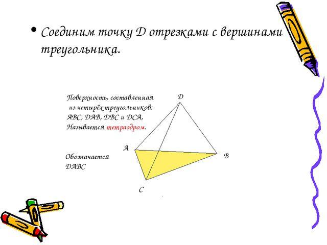 Соединим точку D отрезками с вершинами треугольника. A B C D Поверхность, сос...