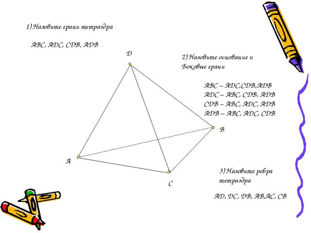D B C A 1) Назовите грани тетраэдра ABC, ADC, CDB, ADB 2) Назовите основание...