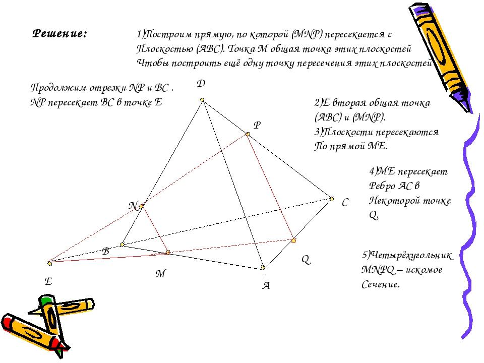D C A B M N P Решение: 1)Построим прямую, по которой (MNP) пересекается с Пло...